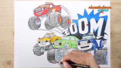 1, 2, 3… Coloriage !   Blaze et les Monster Machines   Zoom sur les Machines !   NICKELODEON JUNIOR