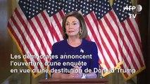 USA: les démocrates annoncent l'ouverture d'une enquête en vue d'une destitution de Trump