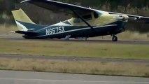 Un avion Cessna 210 atterrit sans train principal
