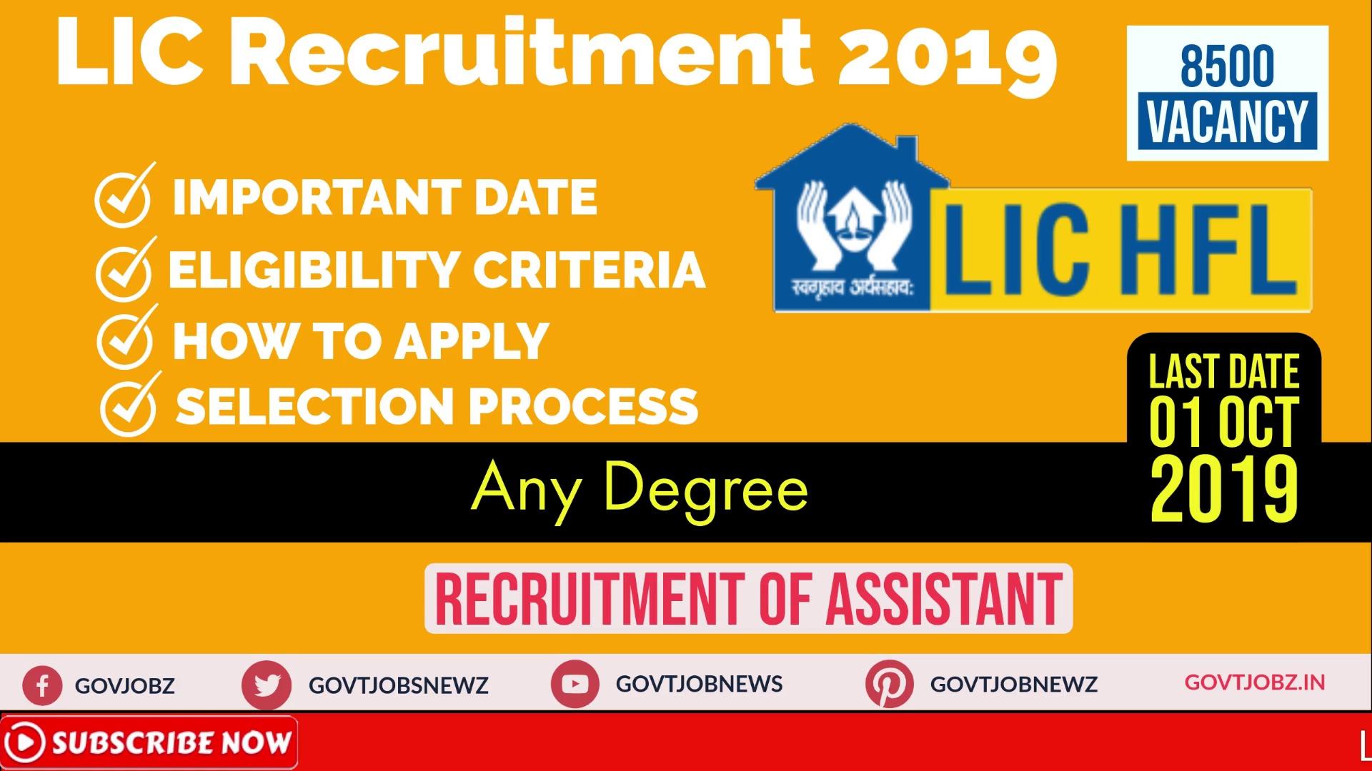 LIC Assistant Recruitment 2019   Govt Jobs 2019   Any Degree