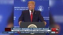 President Trump responds to transcript release