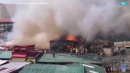 Pag-apula ng mga bumbero sa 5th alarm fire sa Ermita, Maynila