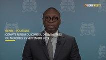 Bénin: compte rendu du conseil des ministres du 25 septembre 2019