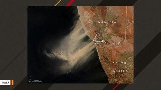 Satellite Image Makes Part Of Ocean Look Like Desert After Dust Storm