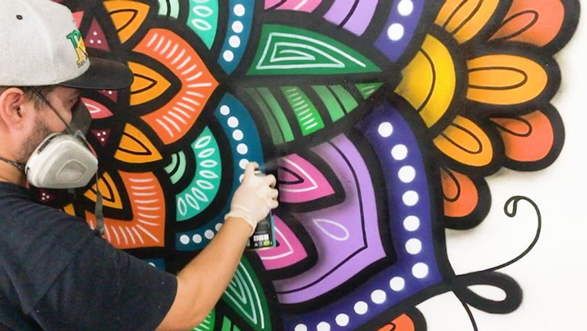 This artist is a master freehand spray painter