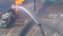 Un camion-citerne transportant 32 000 litres d'essence s'enflamme