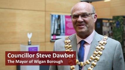 Mayor of Wigan unveils Spirit of Manchester statue