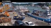 شاهد: لحظة انهيار جسر في تايوان على قوارب صيد وناقلة نفط