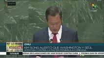 ONU:Corea del Norte alerta que Seúl y Washington atentan contra la paz