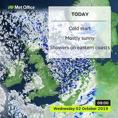 Met Office weather forecast for Wednesday October 2, 2019