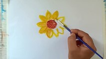 HOW TO DRAW SUNFLOWER WITH CRAYONS COLOUR