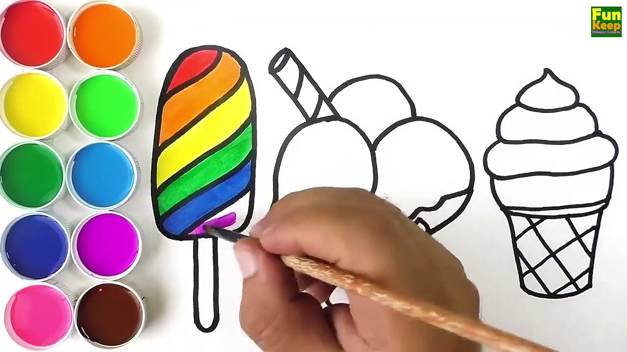 Como Dibujar Y Pintar Helados De Arco Iris Video Dailymotion