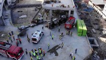 Bağcılar'da inşaat alanında vinç devrildi: 1 yaralı