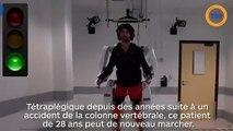 Un exosquelette permet à un tétraplégique de marcher