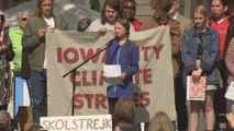 Greta Thunberg takes swipe at world leaders in Iowa