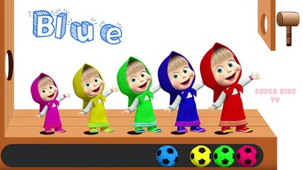 Learn Colors with Masha and the Bear Soccer Balls Wooden Hammer Xylophone Finger Family song