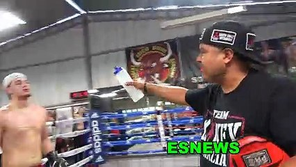 Mikey Garcia Working Mitts With Robert Garcia