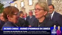 En Corrèze, Claude Chirac salue les habitants venus rendre hommage à son père