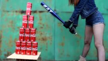 EXPERIMENT - GIRL WITH BASEBALL BAT vs COCA COLA