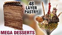 Mega Desserts   Largest Pastry In Mumbai   48 Layer Pastry   Jumbo Sundae   Mega Foods 2019