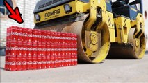 EXPERIMENT - ROAD ROLLER VS 100 Coca Cola Cans