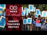Large Protest By Varsity Teachers In Delhi