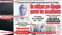 Le Titrologue du 08 Octobre 2019 : Attaque de la gendarmerie de Guiglo, un militant pro-Gbagbo parmi les assaillants