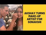 Mission Mangal: Akshay Kumar turns makeup artist for Sonakshi Sinha | SpotboyE