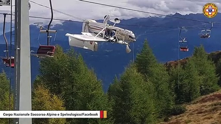 Italian Alps: Plane Gets Stuck In Ski Lift Cables After Crash