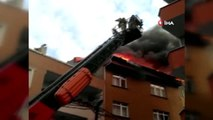 Bağcılar'da 5 katlı apartmanın çatısı alev alev yandı