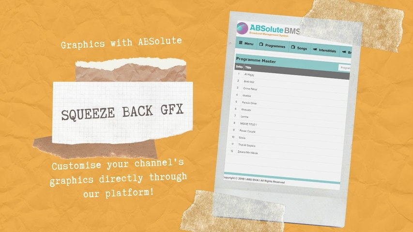 CUSTOMISE AND SET YOUR CHANNEL'S  SQUEZE BACK