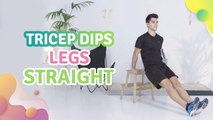 Tricep dips, legs straight - Step to Health