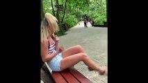 Elle fait faussement croire à un singe qu'elle a de la nourriture, l'animal s'énerve contre elle