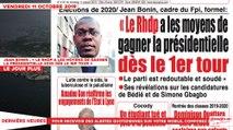 Le Titrologue du 11 Octobre 2019 : Jean Bonin, «Le RHDP a les moyens de gagner la présidentielle 2020 dès le 1er tour»