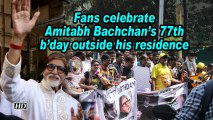 Fans celebrate Amitabh Bachchan's 77th b'day outside his residence