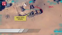 İHA'ların tespit ettiği, teröristlere ait Doçka uçaksavar monteli araç, tam isabetle vuruldu