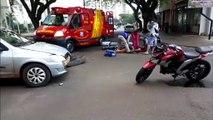 Batida de trânsito deixa motociclista ferido no Centro