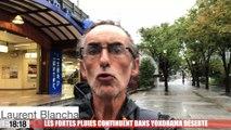 Les fortes précipitations continuent dans Yokohama déserte