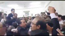 PMLN workers chant anti-establishment slogans during Nawaz Sharif's appearance before court