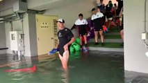 Rugby - Japans players had to wade through water to get to their captains run on Saturday as Typhoon Hagibis reached Yokohama
