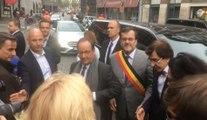 François Hollande à Liège, avec Willy Demeyer et Elio Di Rupo