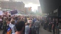 Protesta en la estación de Sants de Barcelonacontra la sentencia