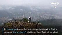"""Demokratie-Aktivisten errichten """"Lady-Liberty""""-Statue auf Hongkonger Berg"""