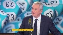 """""""Nous entourons la privatisation de la Française des jeux de toutes les garanties pour éviter qu'il y ait une addiction"""", assure Bruno Le Maire"""