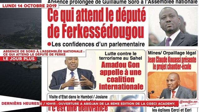 Le Titrologue du 14 Octobre 2019 : Absence de Soro à l'assemblée nationale, ce qui attend le député de Ferké