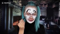 Talented makeup artist turns herself into spooky character for Halloween