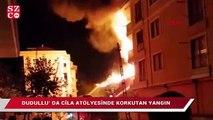 Ümraniye Dudullu' da bir cila atölyesinde yangın çıktı