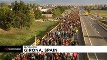 Catalogne : les indépendantistes en marche contre la condamnation de leurs dirigeants