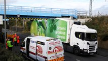Glasgow Road Camelon Asda lorry stuck the older of the two rail bridges coming to rest under the new bridge
