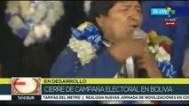 Bolivia: cierre de campaña de Evo Morales en La Paz